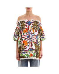 Dolce & Gabbana - Multicolor Majolica Print Off The Shoulder Blouse - Lyst