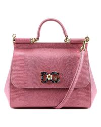 Dolce & Gabbana - Pink Sicily Leather Tote Bag - Lyst