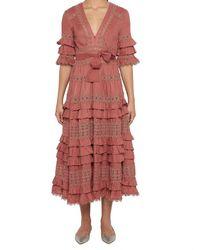 Zimmermann - Pink Frill Tiered Dress - Lyst