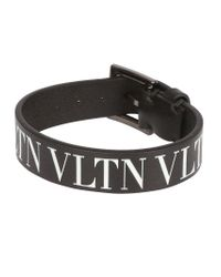 Valentino - Black Garavani Vltn Logo Bracelet - Lyst