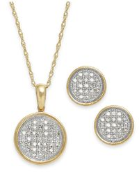 Macy's | Metallic Diamond Disc Jewelry Set In 10k Gold (1/5 Ct. T.w.) | Lyst