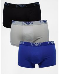 Emporio Armani - Multicolor Trunks In 3 Pack for Men - Lyst