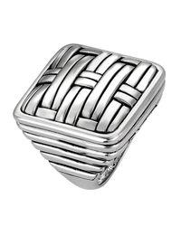 John Hardy | Metallic Bedeg Silver Square Ring | Lyst