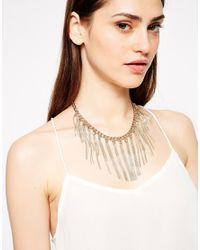 French Connection - Metallic Herringbone and Snake Fringe Collar Necklace - Lyst