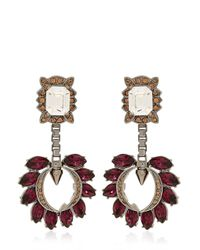Mawi | Red Crystal Cluster Drop Earrings | Lyst