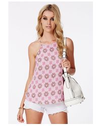 Missguided - Pink Ariena Silky Bohemian Print Cami Top - Lyst