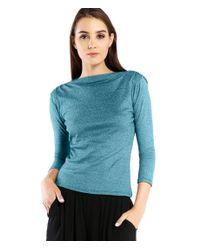 Michael Stars | Blue Shine 3/4 Sleeve Top With Shoulder Shirring Detail | Lyst