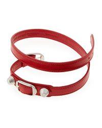 Balenciaga - Red Giant 12 Leather Wrap Bracelet - Lyst