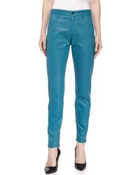 Stella McCartney - Blue Skinny Coated Denim Ankle Trousers - Lyst