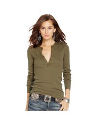 Polo Ralph Lauren | Green Cotton Long-sleeved Henley | Lyst