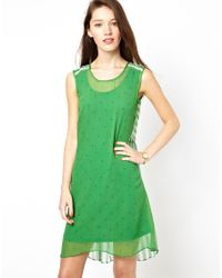 Traffic People - Green Anchors And Stipes Silk Two Sided Dress - Lyst