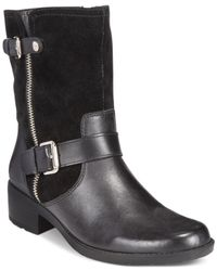 Anne Klein | Black Leyna Casual Moto Booties | Lyst