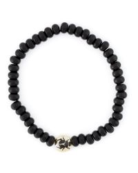 Luis Morais - Black Enameled Scarab Mantra Amulet Bracelet - Lyst