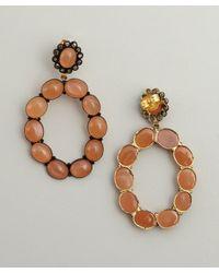 Amrapali - Metallic Rainbow Moonstone and Diamond Oval Hoop Earrings - Lyst