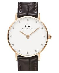 Daniel Wellington - Brown 'classy York' Crystal Index Embossed Leather Strap Watch - Lyst