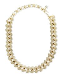 Lee Angel   Metallic Teardrop Howlite And Brass Necklace   Lyst