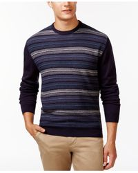 Weatherproof | Blue Striped Crew-neck Sweater for Men | Lyst