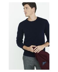 Express | Blue Wool Blend Crew Neck Sweater for Men | Lyst