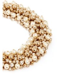 Valentino Metallic Pearl Crystal Cluster Choker Necklace