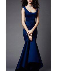 Zac Posen - Blue Solid Neoprene Flared Gown - Lyst
