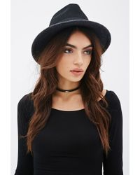 Forever 21 | Black Colorblock Wool Fedora Hat | Lyst