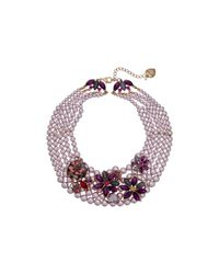 Betsey Johnson | Multicolor Fall Follies Pearl Bib Necklace | Lyst
