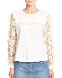See By Chloé - White Lace-detail Cotton Tee - Lyst