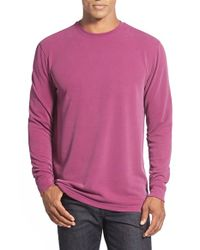 Bugatchi | Pink Long Sleeve Crewneck Sweatshirt for Men | Lyst