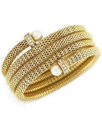 BCBGeneration - Metallic Gold-tone Faux Pearl Coiled Bracelet - Lyst