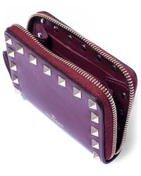 Valentino - Purple Burgundy Rockstud Leather Coin Purse - Lyst