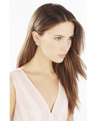 BCBGMAXAZRIA - White Pave Triangle Earrings - Lyst