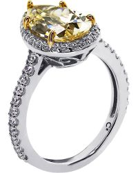 Carat* | Pear 3ct Canary Yellow Borderset Ring | Lyst