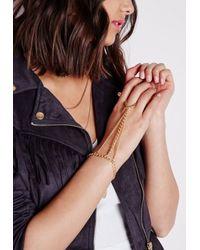 Missguided | Metallic Triple Hand Chain Gold | Lyst