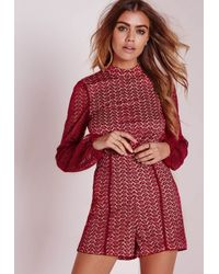 Missguided - Purple Ladder Detail Lace High Neck Romper Oxblood - Lyst