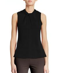 Armani | Black Twist Silk Top | Lyst