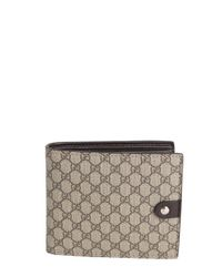 eb1bac2002f3 Lyst - Gucci Beige And Ebony Sima Coated Canvas Bi-fold Wallet in ...