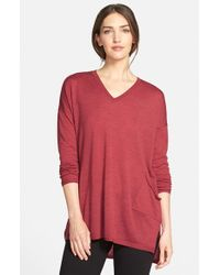 Eileen Fisher | Red Lightweight Merino V-neck Sweater | Lyst