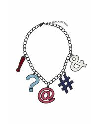 TOPSHOP - Black Bright Punctuation Collar Necklace - Lyst