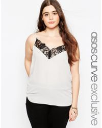 ASOS | Gray Cami With Lace Detail | Lyst