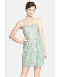 Jenny Yoo | Blue 'hudson Lyon' Strapless Gilded Lace Dress | Lyst