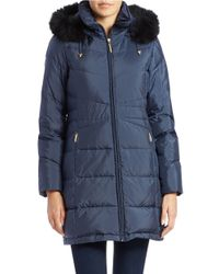 Ellen Tracy | Blue Fox Fur-trimmed Coat | Lyst