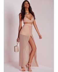 Missguided Mesh Wrap Over Maxi Skirt Nude in Natural | Lyst