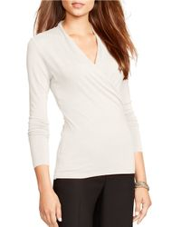 Lauren by Ralph Lauren | Natural Jersey Wrap Top | Lyst