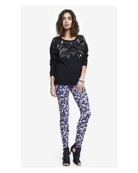 Express - Blue Floral Print Sexy Stretch Legging - Lyst
