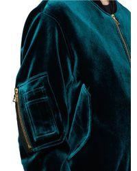 Sandro - Green 'ventura' Velvet Bomber Jacket - Lyst