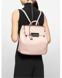 Calvin Klein - Natural Kelsey Pebble Leather Backpack - Lyst