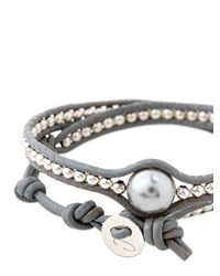Colana | Gray Leather Wrap Bracelet With Pearl | Lyst