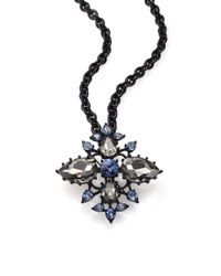 Oscar de la Renta | Black Pear Crystal Convertible Brooch/pendant Necklace | Lyst