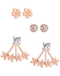 Guess - Pink Rose Gold-tone Stud Flower Front-back Earrings Trio - Lyst