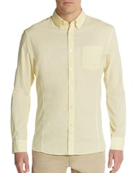 John Varvatos - Yellow Regular-fit Cotton Sportshirt for Men - Lyst